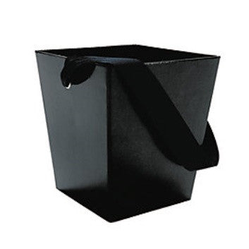 Black Cardboard Bucket w/ Ribbon Handle, 1pc