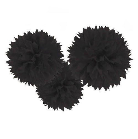 Black Fluffy Decorations, 3 pk - Bachelorette Superstore - Bachelorette Party Ideas