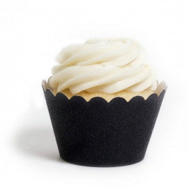 Cupcake Wrapper Reusable- Black Glitter, 12ct.