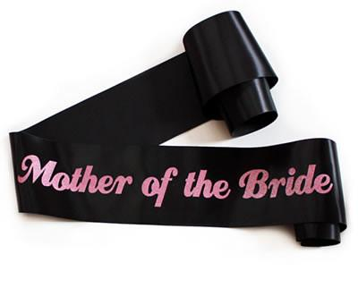 "Glittering Black/Pink ""Mother of the Bride"" Sash"