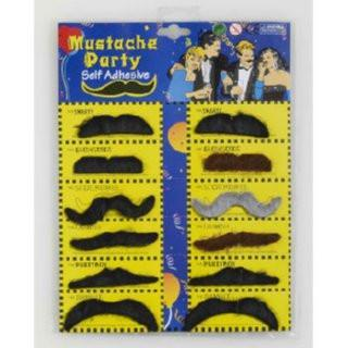 Black and Brown Mustaches - Self Adhesive, Set of 12