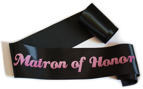 "Glittering Black/Pink ""Matron of Honor"" Sash"