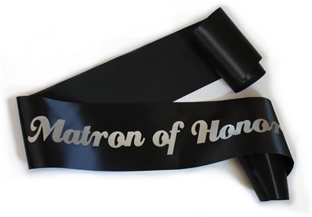 "Glittering Black/Silver ""Matron of Honor"" Sash"