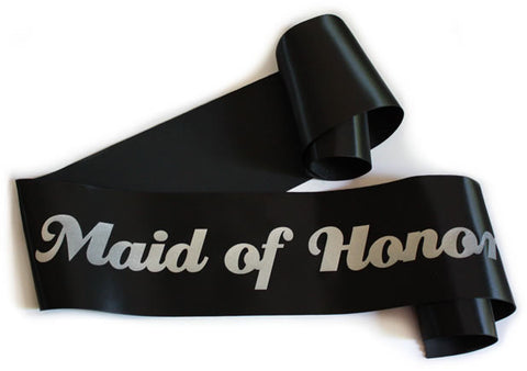 "Glittering Black/Silver ""Maid of Honor"" Sash"