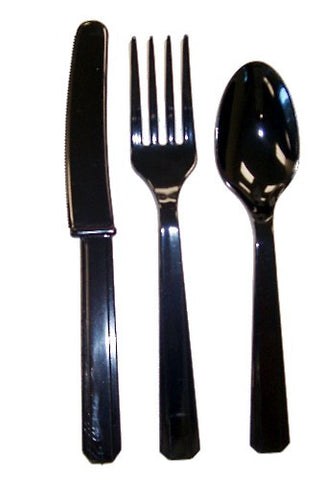 Black Plastic Cutlery, 24 pcs.