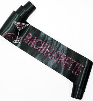 Black w/ Pink Rhinestone Bachelorette Sash, block - Bachelorette Superstore - Bachelorette Party Ideas