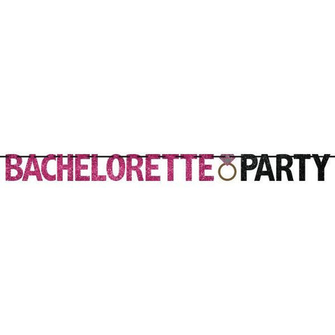 "Hot Pink & Black Glitter ""Bachelorette Party"" Ribbon Banner"