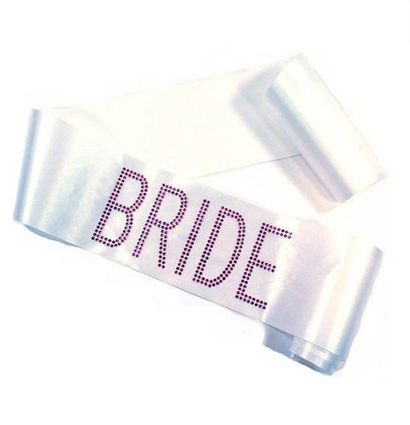 "White w/ Pink Rhinestone ""Bride"" BLOCK sash - Bachelorette Superstore - Bachelorette Party Ideas"