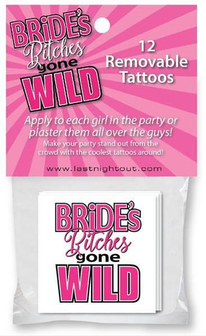 Bride's Bitches gone Wild Tattoos, 12 pk