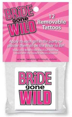 Bride gone wild tattoos, 12 pk - Bachelorette Superstore - Bachelorette Party Ideas
