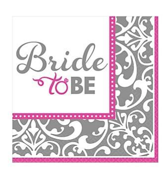 Classic Bride Metallic Design Napkins, bev. 16ct. - Bachelorette Superstore - Bachelorette Party Ideas