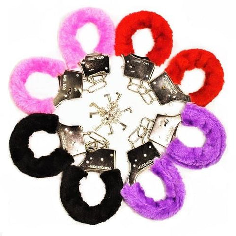 Furry Handcuffs & keys, 1 pair - Bachelorette Superstore - Bachelorette Party Ideas
