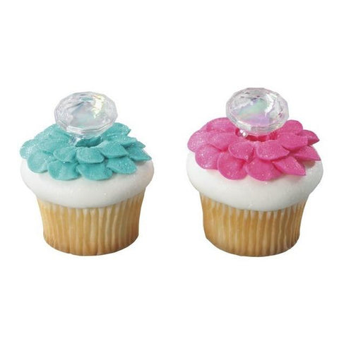 Irridescent Diamond Ring Cupcake Toppers- 12 pack