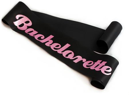 Glittering Black/Pink Bachelorette Sash - Bachelorette Superstore - Bachelorette Party Ideas