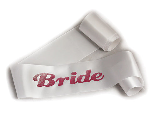 Glittering White/Pink Bride Sash - Bachelorette Superstore - Bachelorette Party Ideas