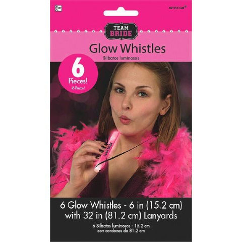 Glow Stick Whistle Necklaces, 6pk