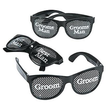 Groom- Bridal Party Pin-hole Glasses, 6pk