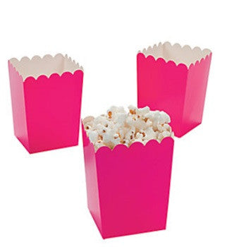 Hot Pink Mini Popcorn Boxes, 12 pk