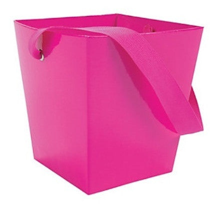 Hot Pink Cardboard Bucket w/ Ribbon Handle, 1pc