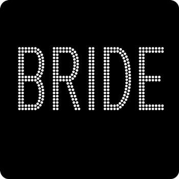 "Rhinestone Iron On Transfer- ""BRIDE"" block"