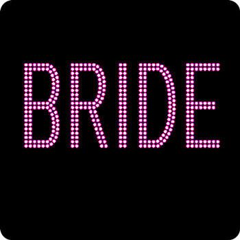 Rhinestone Iron On- Pink Block BRIDE