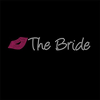 Rhinestone Iron On Transfer- Kiss the Bride (lips)