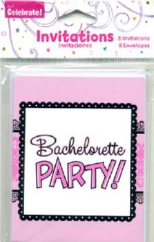 Pink and Lace Bachelorette Party Invites, 8 pk