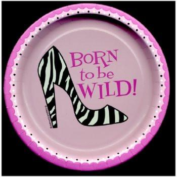 Pink and Lace Born To Be Wild Plate- 7in, 15pk