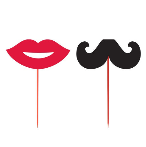 Red Lips & Black Mustache Party Picks, 12 pk - Bachelorette Superstore - Bachelorette Party Ideas