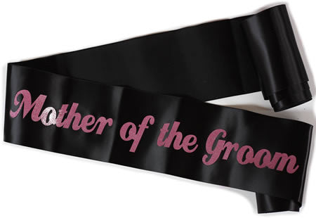 "Glittering Black/Pink ""Mother of the Groom"" Sash"