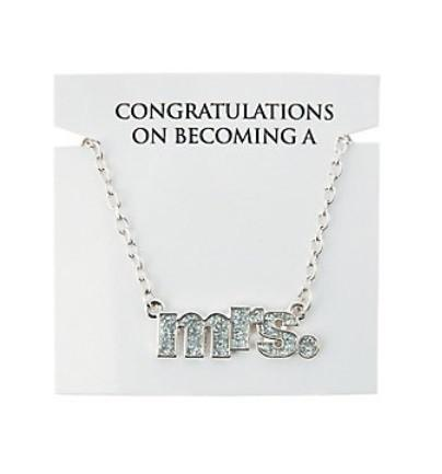 Silver Mrs. Necklace- on congratulations card