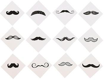 Fingerstache Tattoos, 36 pc.