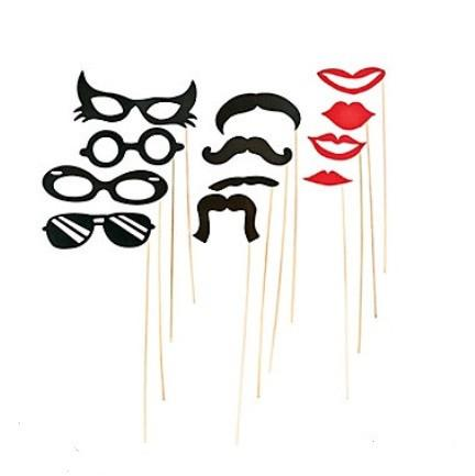 Mustache, Lips & Glasses Photo Props, 12 pc - Bachelorette Superstore - Bachelorette Party Ideas