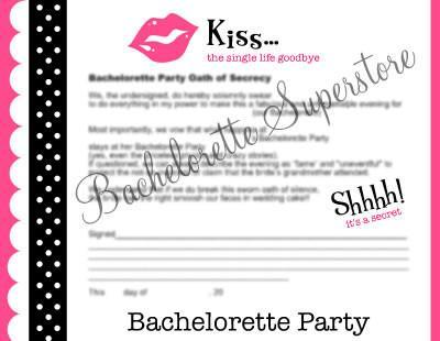 Bachelorette Party Oath to Secrecy - Bachelorette Superstore - Bachelorette Party Ideas