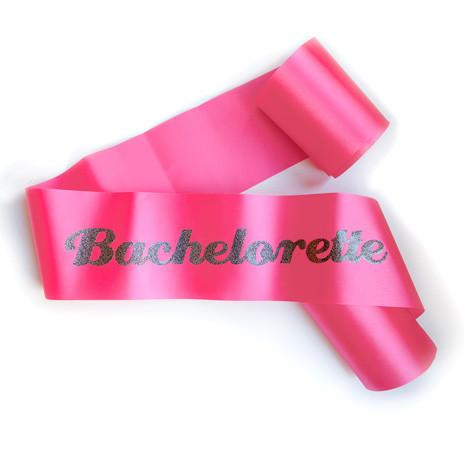 "Glittering Hot Pink/Black ""Bachelorette"" Sash - Bachelorette Superstore - Bachelorette Party Ideas"