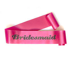 "Glittering Hot Pink/Black ""Bridesmaid"" Sash"