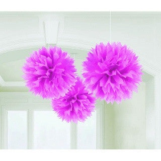 Pink Fluffy Decorations, 3 pk