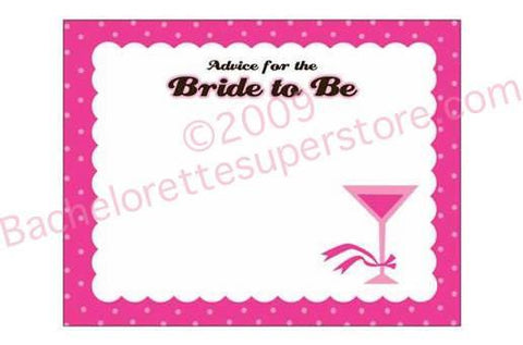 Bride to Be Martini Advice Cards, 20 cards - Bachelorette Superstore - Bachelorette Party Ideas