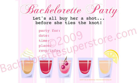Pink Shot Glass Invitations, 10 pk - Bachelorette Superstore - Bachelorette Party Ideas
