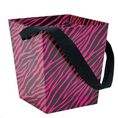 Pink Zebra Cardboard Bucket w/ Ribbon Handle, 1 pc