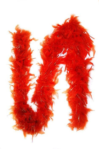 Feather boa w/ sparkles, Red