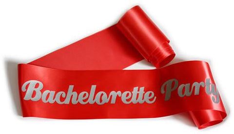 "Glittering Red/Silver ""Bachelorette Party"" Sash - Bachelorette Superstore - Bachelorette Party Ideas"