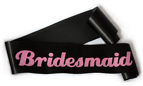 "Glittering Black/Pink ""Bridesmaid"" Sash"