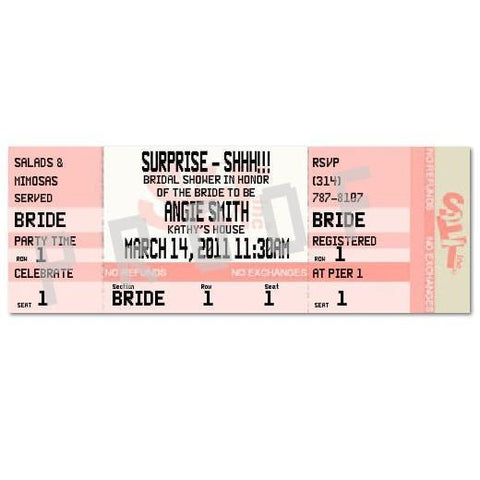 Bridal Shower Custom Ticket Invitations - Bachelorette Superstore - Bachelorette Party Ideas