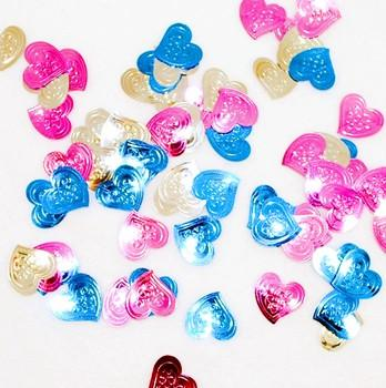 Teal, Pink & Silver Heart Confetti