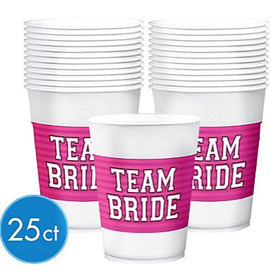 Team Bride Plastic Cups, 16oz-25pk