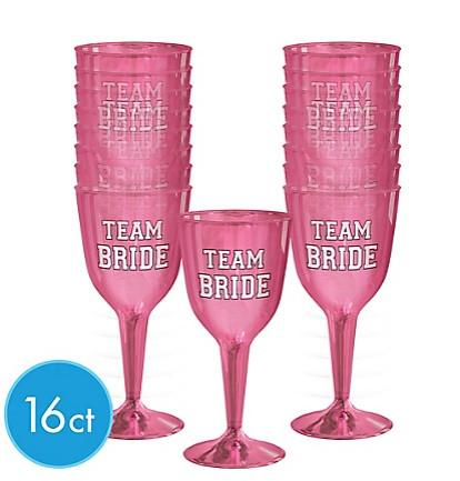 Team Bride Wine Glasses, 16 pk