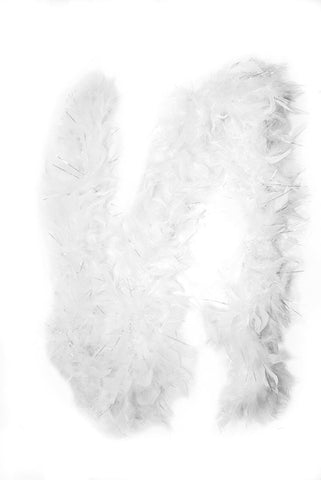 Feather Boa w/ sparkles, White