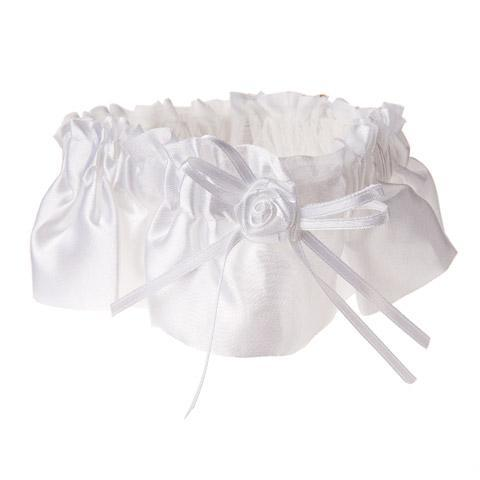 White Satin Garter - Bachelorette Superstore - Bachelorette Party Ideas