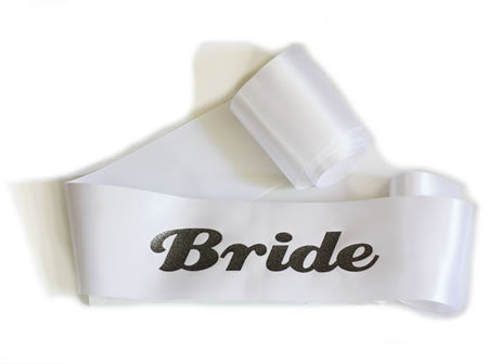 Glittering White/Charcoal Bride Sash - Bachelorette Superstore - Bachelorette Party Ideas